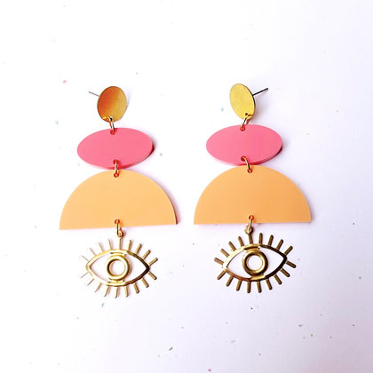 Geometric Eye Earrings - Sorbet Colors