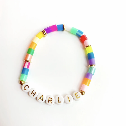 Multicolor Personalized Gold Letter Bracelets