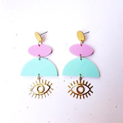 Geometric Eye Earrings - Aqua and Lavender