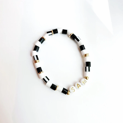 Black & White Personalized Gold Name Bracelet