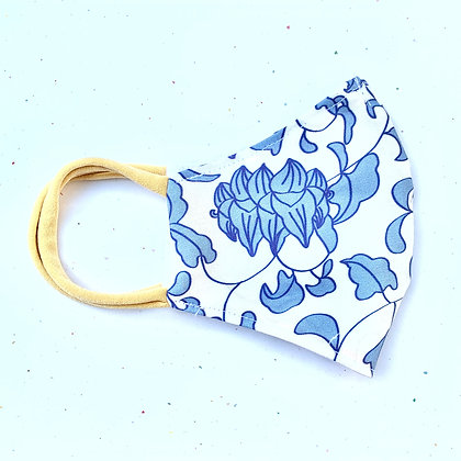 Adult Classic Blue and White Print Mask