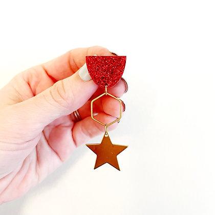 Red Glitter KC Earrings