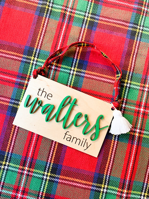 Rectangle Family Name Ornaments