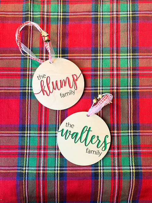 Round Family Name Ornament