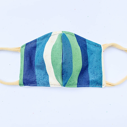 Little Kid Mask - Blue and Green Stripe