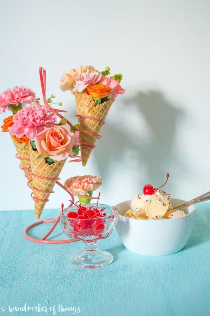 Ice Cream Social Floral Decor DIY