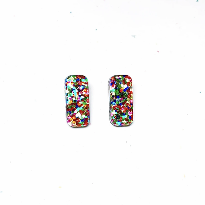copy of Party Girl Rainbow Glitter Rectangle Studs