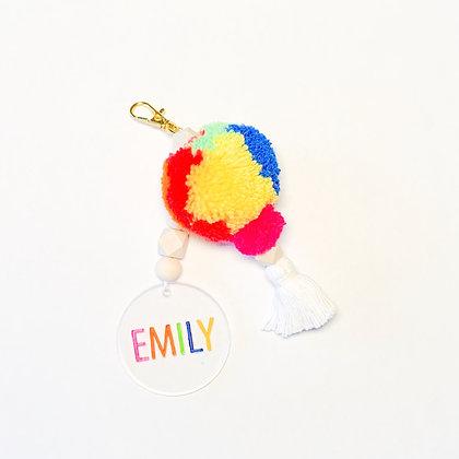 Rainbow Bright Personalized Keychain/Bag Charm