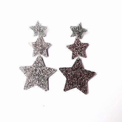 Silver Glitter Star Dangle Earrings