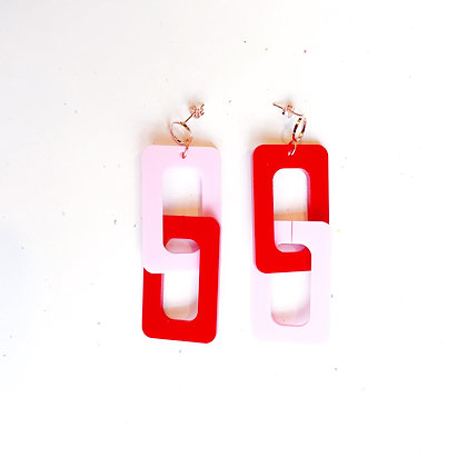 Pink and Red Chain Link Dangles
