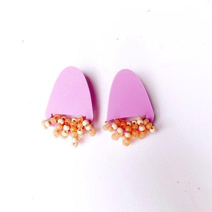 Beaded Geometric Earrings - Lavender Matte