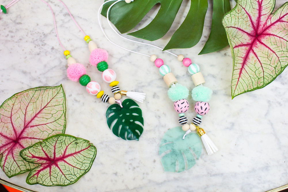 Monsterra and Palm Leaf Necklaces for kids