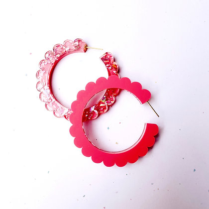Scalloped Two Sided Hoops - Coral Pink