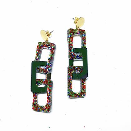 Party Girl Chain Link Glitter Earrings