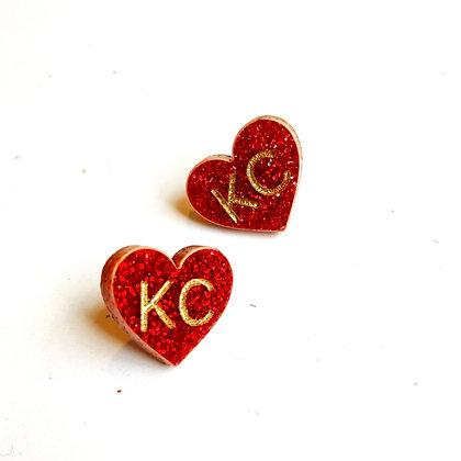 KC Heart Studs
