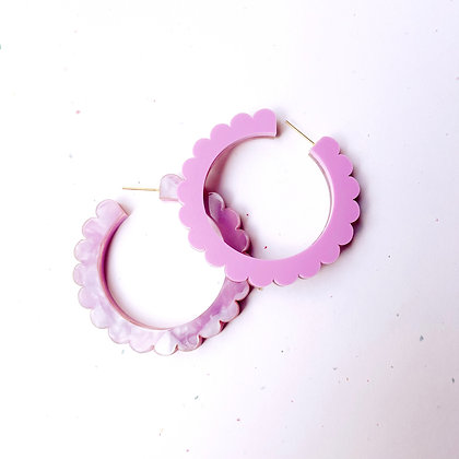 Scalloped Two Sided Hoops - Lavender
