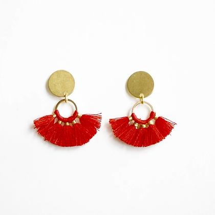 Red Mini Fringe Earrings