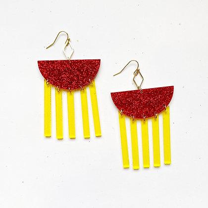 Red Glitter Geo KC Earring