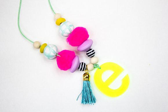 Neon Yellow Monogram Necklace