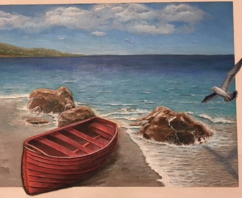 Red boat seascape painting