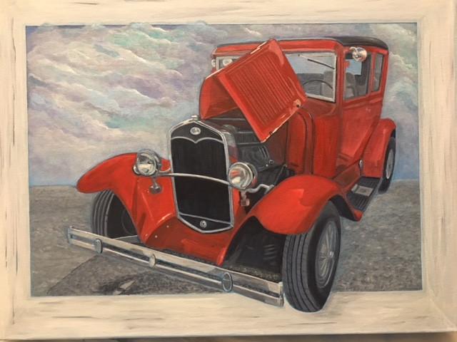 Red vintage car