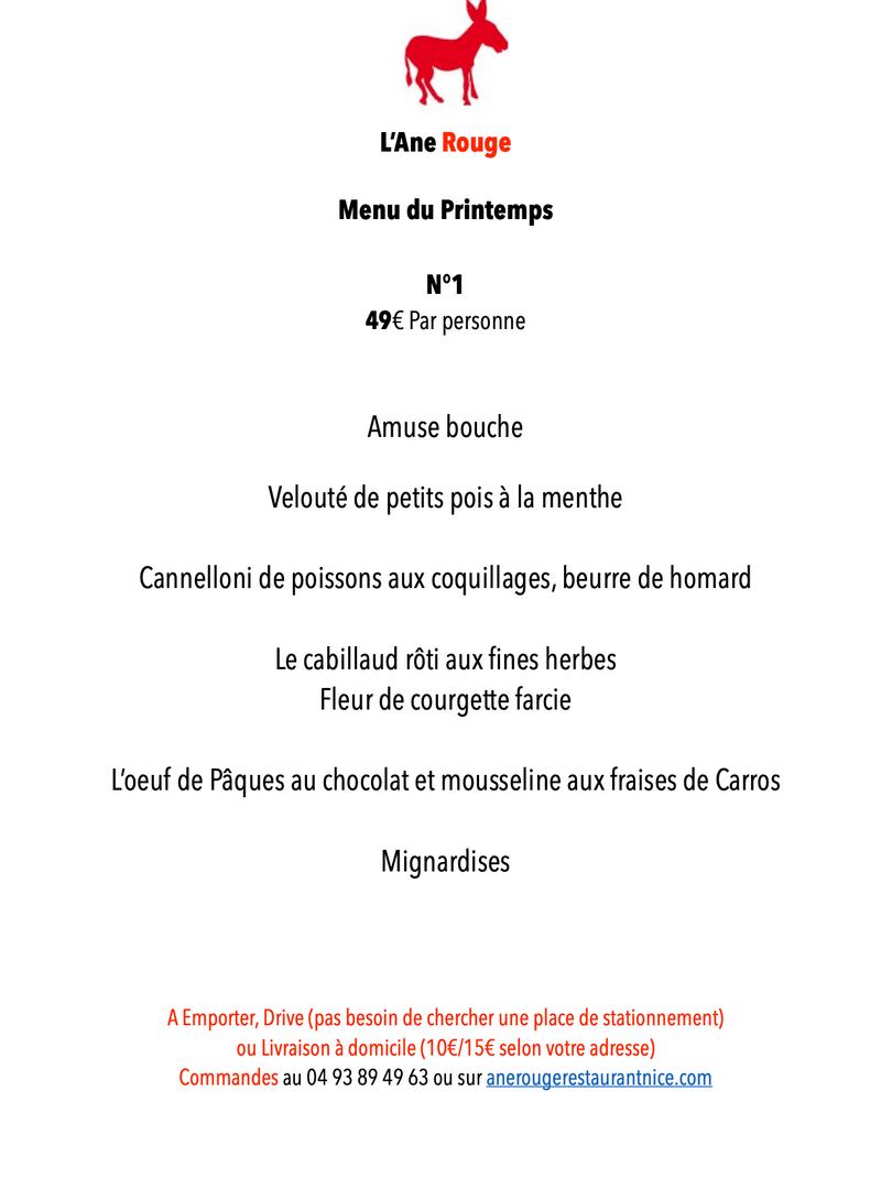 MENU 1 PAQUES 2021Restaurant L'Ane Rouge