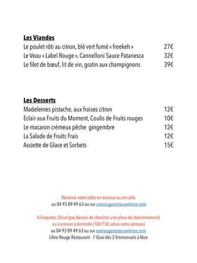 La Carte de l'été du Restaurant L'Ane Ro