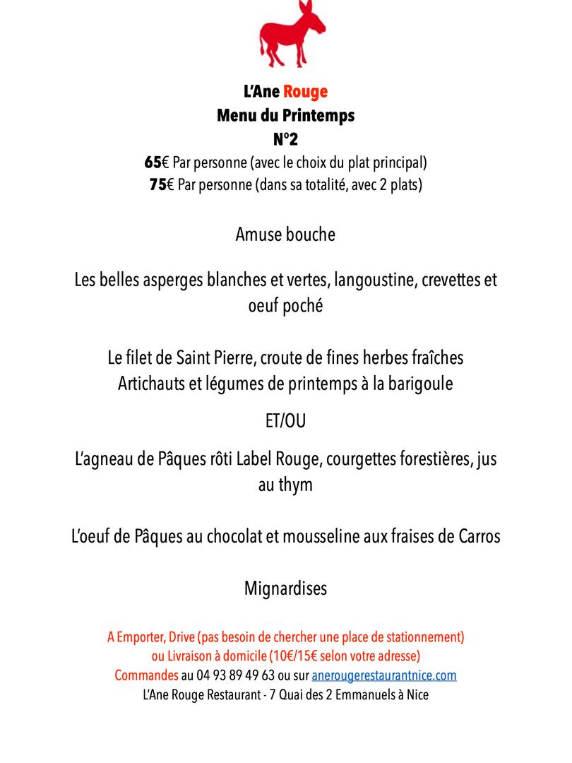 MENU 2 PAQUES 2021Restaurant L'Ane Rouge
