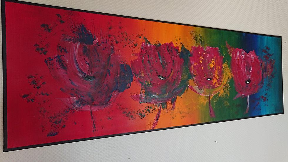 Rainbow flowers 150 x 50 cm