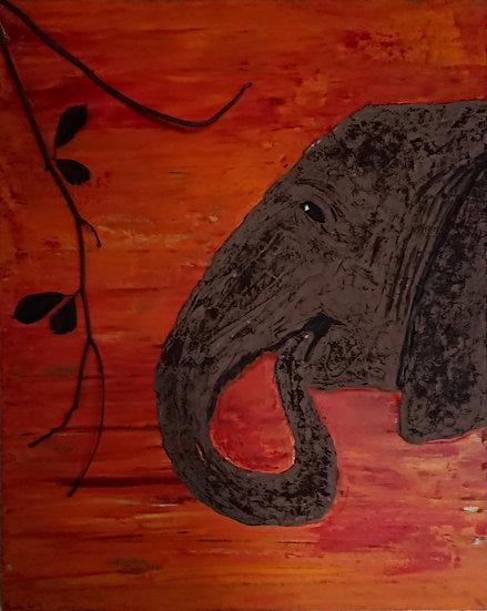 Éléphant 2 40 x 50 cm