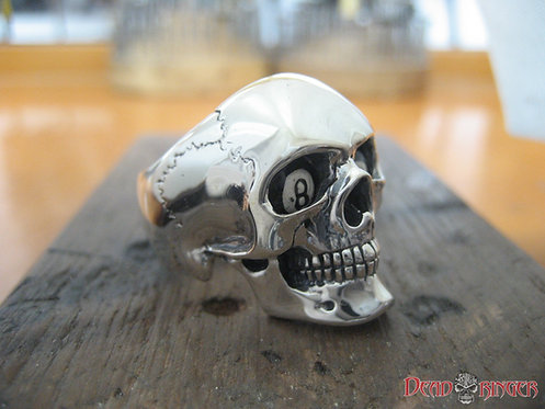 Crazy 8-Ball Skull Ring