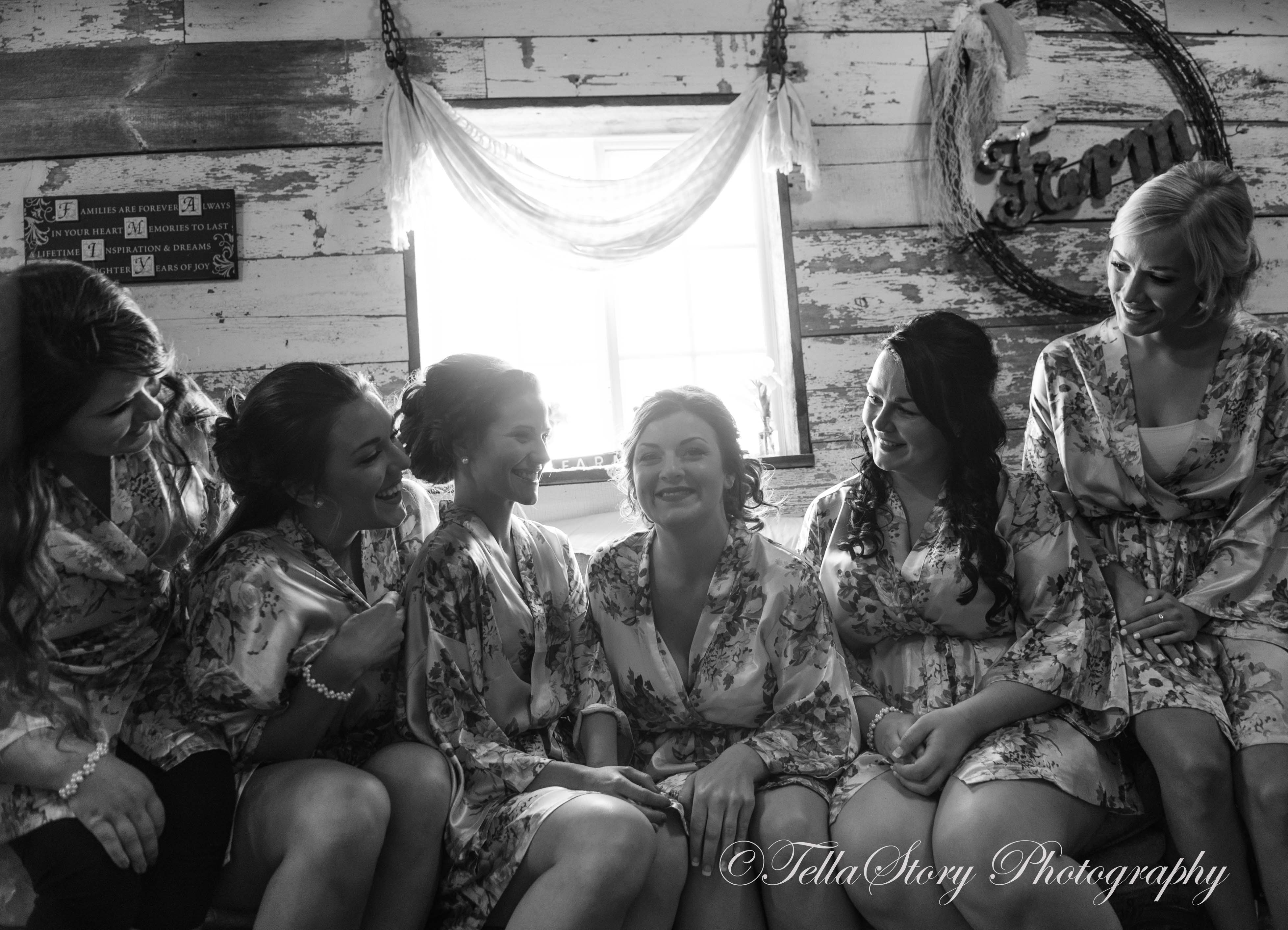Pretty ladies in the bridal room