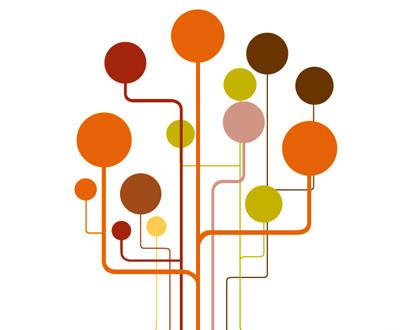 círculos nas cores laranja, marrom, verde e rosa se conectam em linhas também coloridas sob um fundo branco.