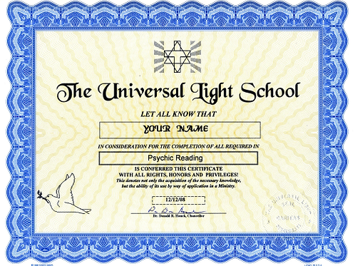 Ministry Certificate