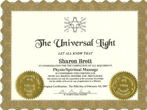 "Exclusive ""Physio/Spiritual Massage"" Certificate"