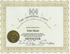 Minister Ordination Certificate