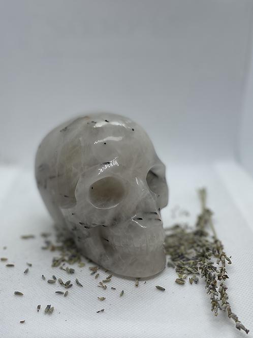 Black Tourmaline & Quartz Crystal Skull