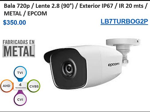 Cámara Bullet 720p / Lente 2.8mm (90°) / IR 20 mts / IP66 Exterior / Metal