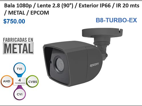 Cámara Bullet 1080p / Lente 2.8mm (90°) / IR 20 mts / IP66 Exterior / Metal