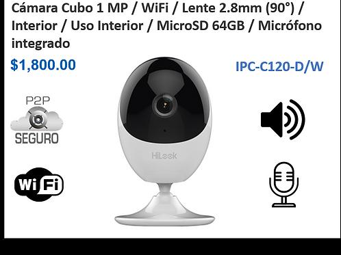 Cubo IP /1 MP / WIFI / MicroSD 64GB / Bocina / Micrófono / IR 10 mts / Interior