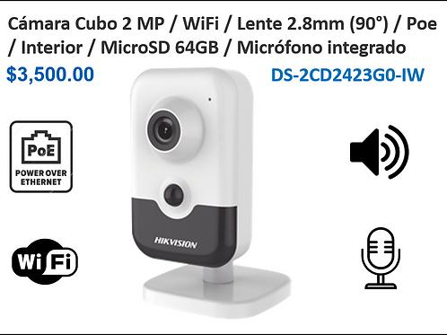 Cubo IP 2MP /WIFI / Lente 100° / MicroSD 64GB / Micrófono / IR 15 mts / Interior