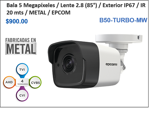Cámara 5 MP / Lente 2.8mm (90°) IR 20 mts / IP67 Exterior