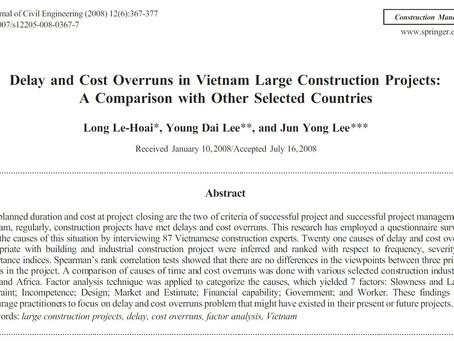 Le-Hoai(2008) 베트남 대형 건설 프로젝트의 지연 및 비용 초과 - 다른 국가와의 비교