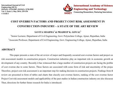 건설산업에서의 비용초과 요인 및 프로젝트 원가 리스크분석평가 - 문헌조사