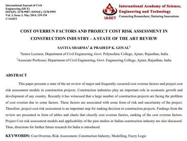 건설산업에서의 비용 초과 요인 및 프로젝트 비용 리스크 평가 - 최신 동향 조사