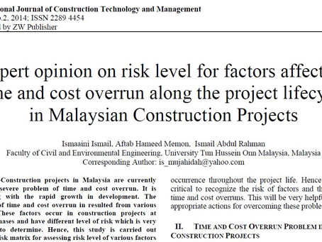 [K-Risk 문헌] 말레이시아 건설 프로젝트의 프로젝트 전과정에 따른 시간 및 비용 초과에 영향을 미치는 요인에 대한 리스크 수준에 관한 전문가 의견