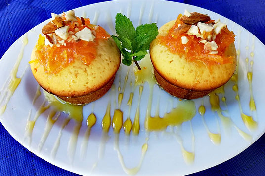 Greece - Fabian Vitale - Greek Orange cakes with almonds , carameliVirtual Cooking Class