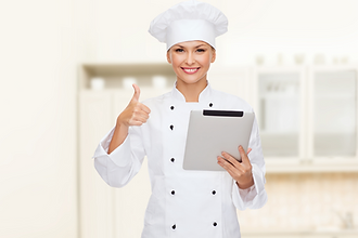 Chef teaching live online cooking classes