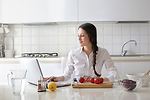 Woman attendgin live online cooking classes