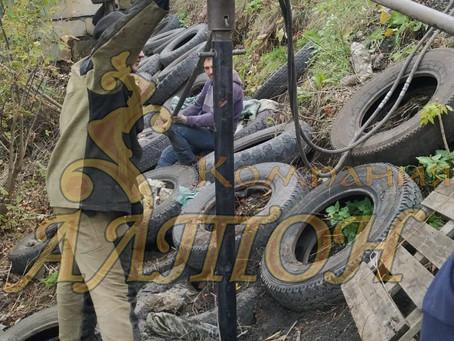 Монтаж винтовых свай под Усиления берега п. Береговой